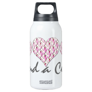 PINK RIBBONS PATTERN INSULATED WATER BOTTLE