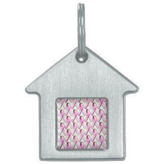 PINK RIBBONS PATTERN PET ID TAG