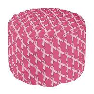 Pink Ribbons Pattern Round Pouf