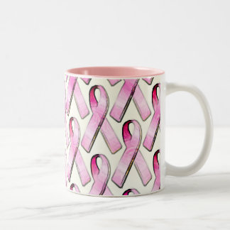 PINK RIBBONS PATTERN Two-Tone COFFEE MUG