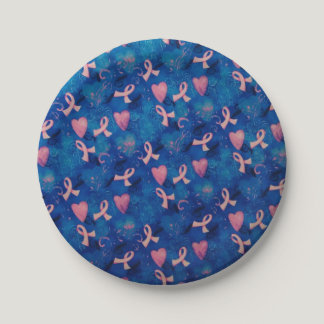 Pink Ribbons & Pink Hearts Paper Plates