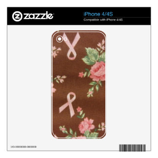 Pink Ribbons & Roses Decal For iPhone 4