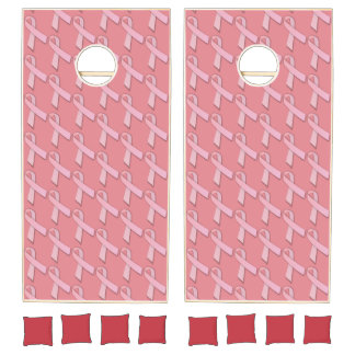 Pink Ribbons Tiled Pattern Cornhole Set