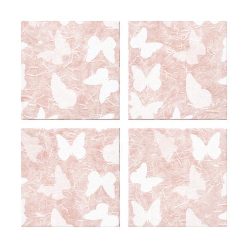 Pink Rice Paper Butterflies Canvas Print
