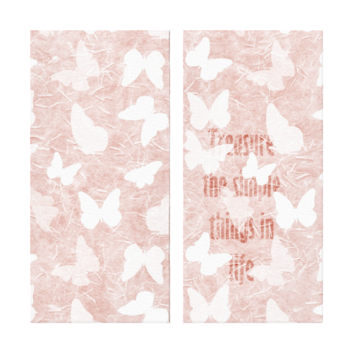 Pink Rice Paper Butterflies Gallery Wrapped Canvas