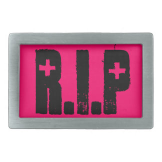 Pink RIP Rest In Peace Belt Buckle
