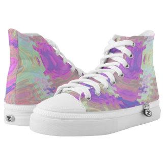 Pink Rippled Wave Hi Top Printed Shoes