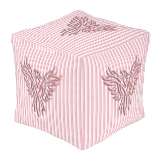 Pink rising phoenix with pink bands, fresh design outdoor pouf