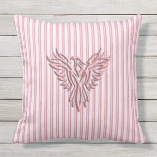 Pink rising phoenix with pink bands, fresh design throw pillow