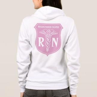 Pink RN nurse hoodie with caduceus symbol