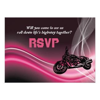 Pink road biker wedding RSVP response card Personalized Invite