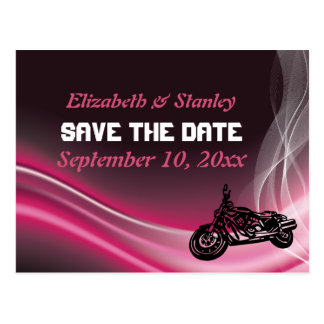 Pink road biker wedding Save the Date postcard