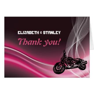 Pink road biker wedding Thank You note card