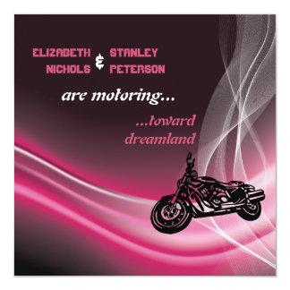 Pink road motorcycle biker wedding card