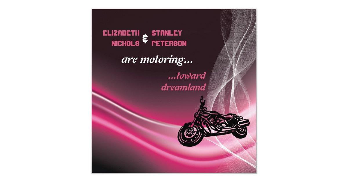 Biker Wedding Invitations: Pink Road Motorcycle Biker Wedding Invitation