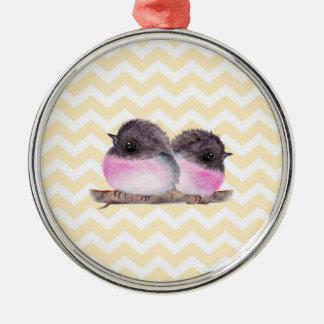 Pink robins baby birds yellow chevron pattern metal ornament