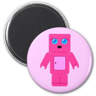 Pink Robot 2 Inch Round Magnet