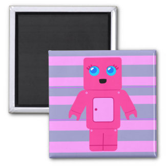Pink Robot 2 Inch Square Magnet