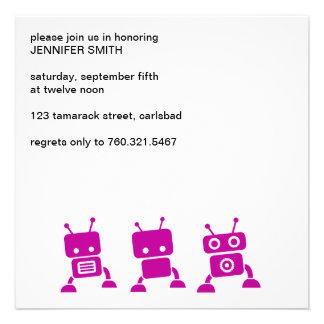 Pink Robot Baby Shower Invitation
