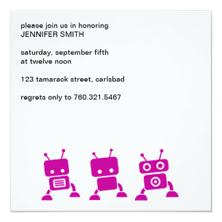 "Pink Robot Baby Shower Invitation 5.25"" Square Invitation Card"
