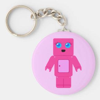 Pink Robot Basic Round Button Keychain