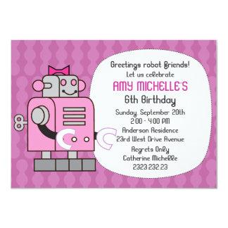 Pink Robot Birthday Girl Party Invitation