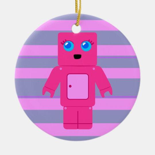 Pink Robot Ceramic Ornament