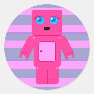 Pink Robot Classic Round Sticker