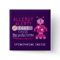 Pink Robot Egg Allergy Alert Warning Personalized Pinback Button