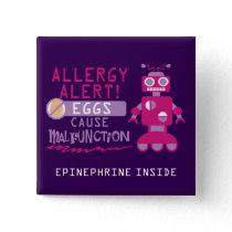 Pink Robot Egg Allergy Alert Warning Personalized Pinback Button