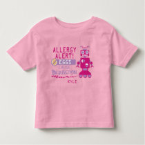 Pink Robot Egg Allergy Alert Warning Personalized Toddler T-shirt