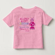 Pink Robot Egg Allergy Alert Warning Personalized Toddler T-shirt