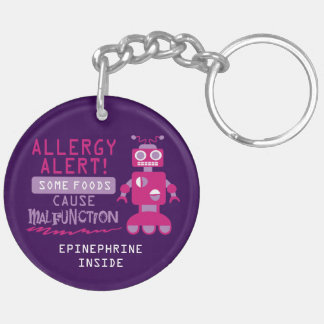 Pink Robot Food Allergy Alert Kids Personalized Keychain