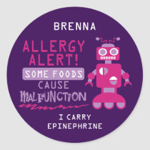 Pink Robot Food Allergy Alert Stickers