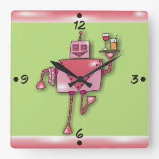 Pink Robot Girl Waiter With Tray Wall Clocks