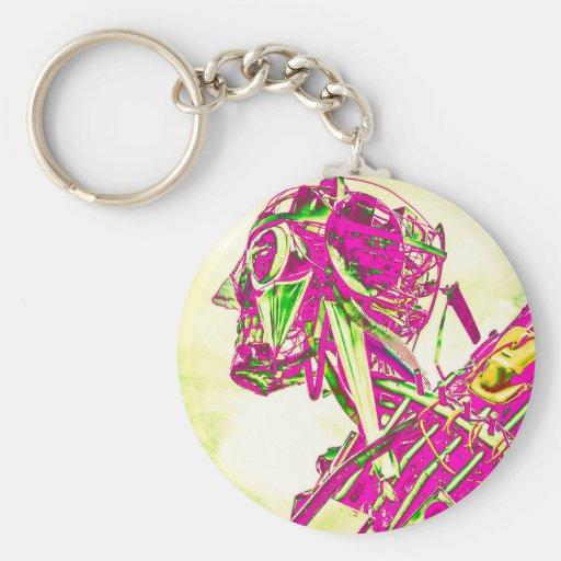 Pink Robot Keychains
