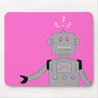 pink robot mouse pad