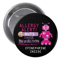 Pink Robot Nut Allergy Alert Girls Personalized Button