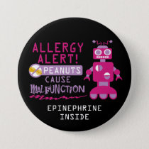 Pink Robot Peanut Allergy Alert Girls Personalized Pinback Button