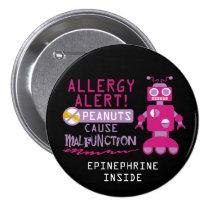 Pink Robot Peanut Allergy Alert Girls Personalized Pinback Button