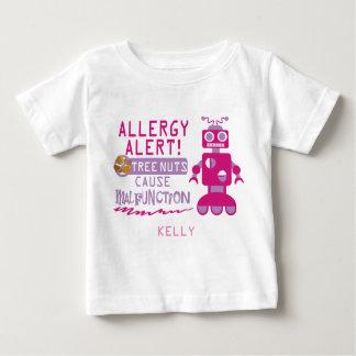 Pink Robot Tree Nut Allergy Alert Girls Baby T-Shirt
