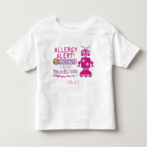 Pink Robot Tree Nut Allergy Alert Girls Toddler T-shirt