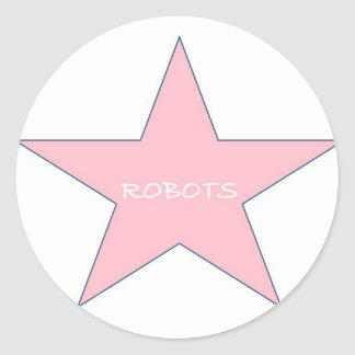 "Pink ""Robots"" Stickers"