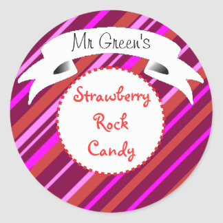 Pink rock candy striped label