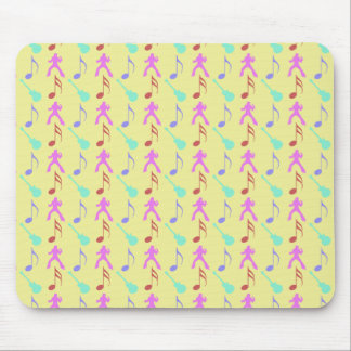 Pink Rock & Roll Singer and Green Guitars Mousepad