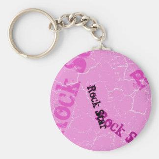 Pink Rock Star Basic Round Button Keychain