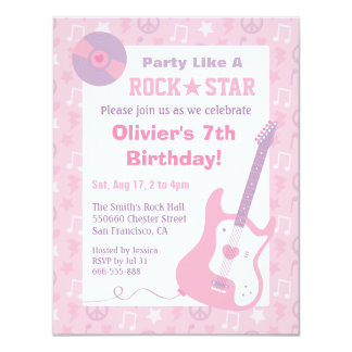 Pink Rock Star Girls Birthday Party Invitations