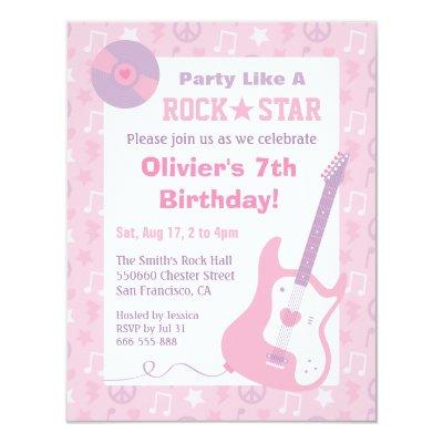 Rock Star Girl Band Birthday Purple Pink Card – Rockstar Birthday Party Invitations