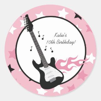 "PINK ROCK STAR GUITAR 3"" Favor Stickers"