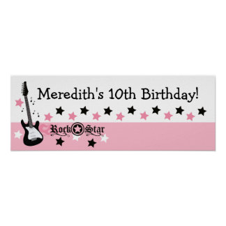 Pink Rock Star Guitar Custom Birthday Banner Poster